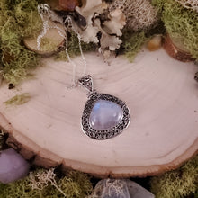 Load image into Gallery viewer, Wide Teardrop Rainbow Moonstone Shield Pendant