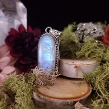 Load image into Gallery viewer, Oval High Set Rainbow Moonstone Pendant
