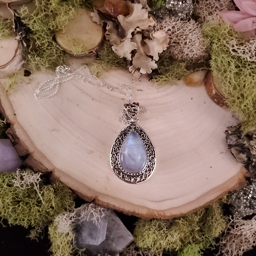 Teardrop Rainbow Moonstone Shield Pendant