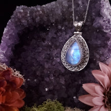 Load image into Gallery viewer, Teardrop Rainbow Moonstone Shield Pendant