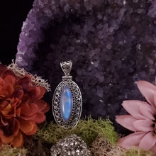 Load image into Gallery viewer, Rainbow Moonstone Marquise Shield Pendant