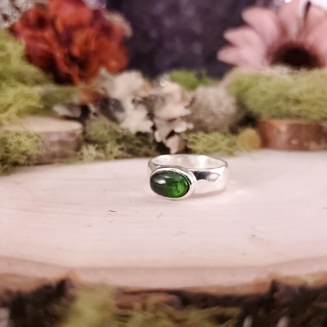 Green Tourmaline Hammered Ring