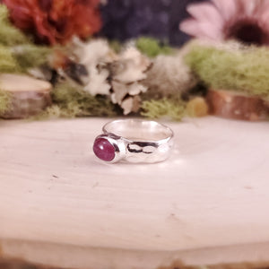 Oval Pink Tourmaline Hammered Ring