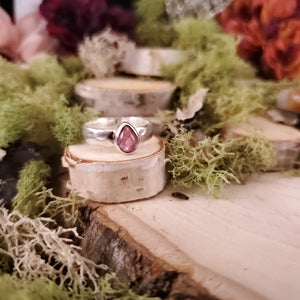 Teardrop Pink Tourmaline Hammered Ring