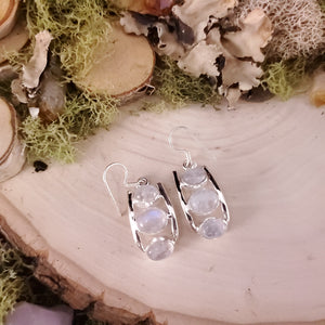 Three Stack Moonstone Earrings