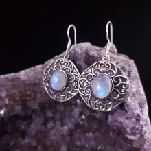 Load image into Gallery viewer, Moonstone Shield Dangle Earrings