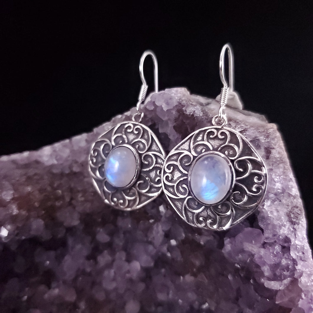 Moonstone Shield Dangle Earrings