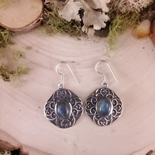 Load image into Gallery viewer, Labradorite Shield Dangle Earrings