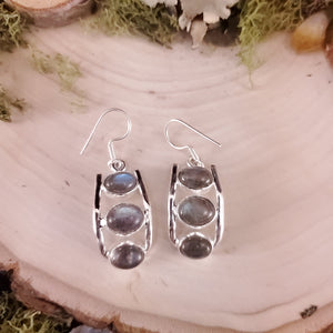 Three Stack Labradorite Earrings