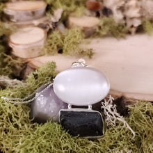 Load image into Gallery viewer, Oval Selenite Tektite Grounding Pendant