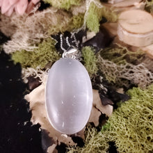 Load image into Gallery viewer, Slender Oval Selenite Cleansing Pendant