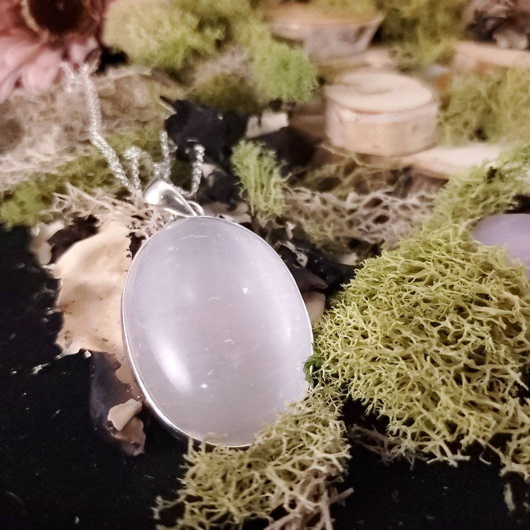 Oval Selenite Cleansing Pendant