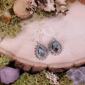 Labradorite Decorative Drop Earrings