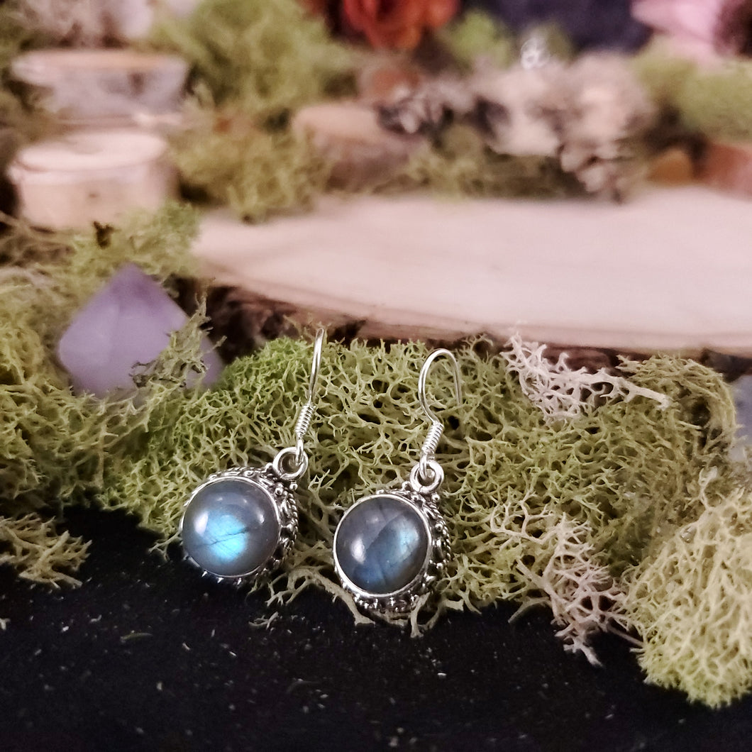 Round Labradorite Decorative Earrings