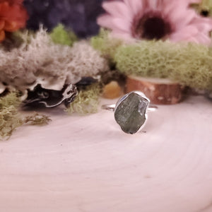 Raw Moldavite Ring