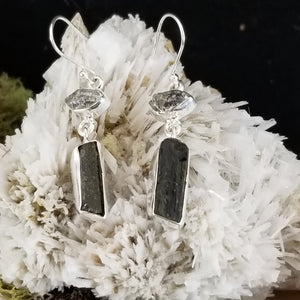 Diamond Quartz and Black Tourmaline Earrings