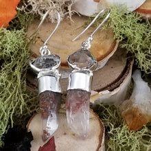Load image into Gallery viewer, Diamond and Phantom Quartz Earrings