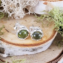 Load image into Gallery viewer, Green Tourmaline Halo Stud Earrings
