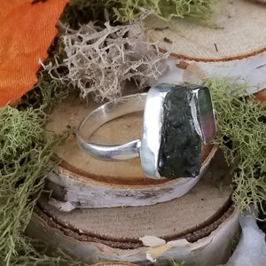 Raw Moldavite Ring with Watermelon Tourmaline