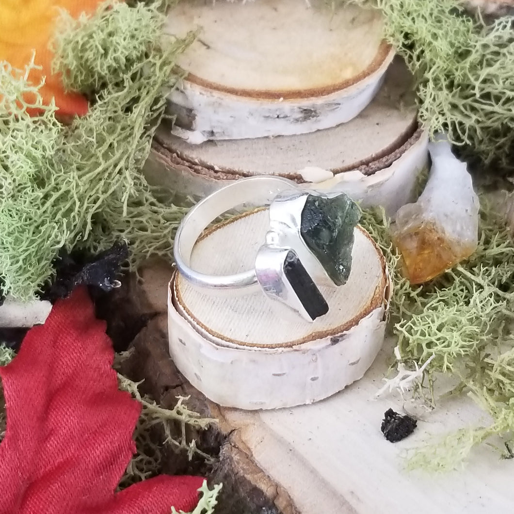Raw Moldavite Ring with Green Tourmaline