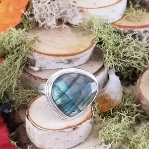 Faceted Labradorite Freeform Ring