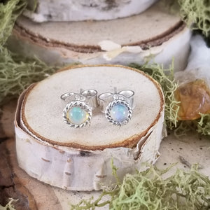 Opal Halo Stud Earrings