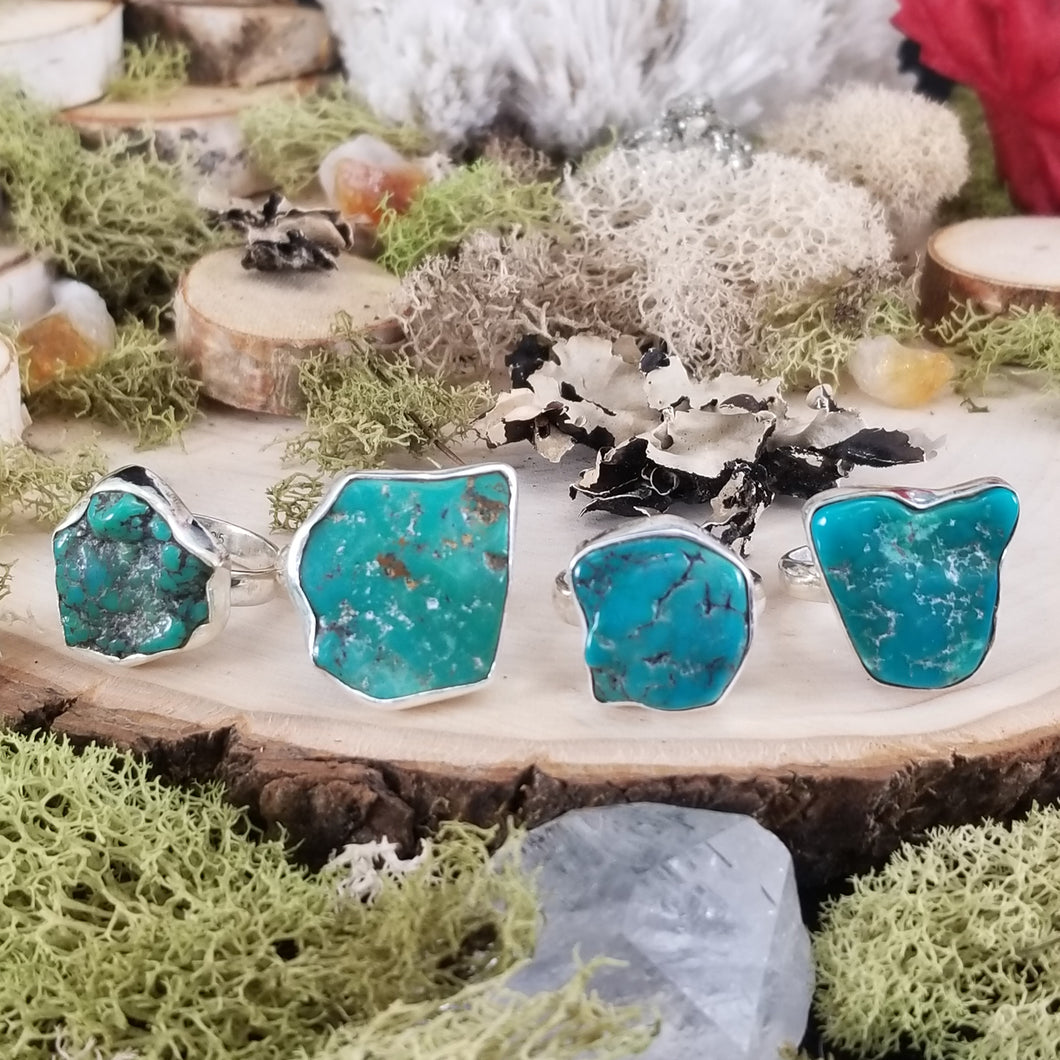 Raw Turquoise Silver Ring
