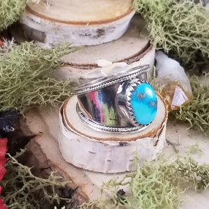Turquoise Wide Band Native Style Ring