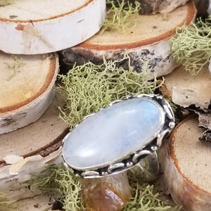 Rainbow Moonstone Decorative Ring