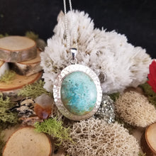 Load image into Gallery viewer, Turquoise Hammered Shield Pendant