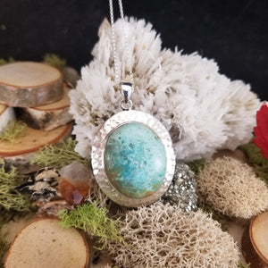 Turquoise Hammered Shield Pendant