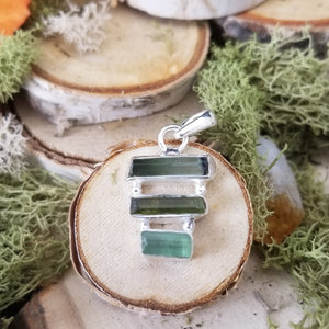 Green Tourmaline Triple Stack Pendant