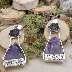 Moldavite and Amethyst Exploration Pendant
