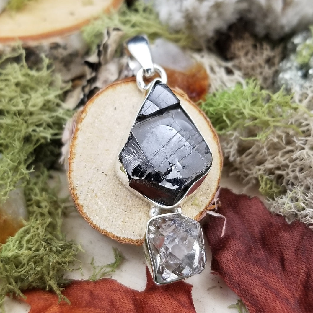 Shungite with Diamond Quartz Pendant
