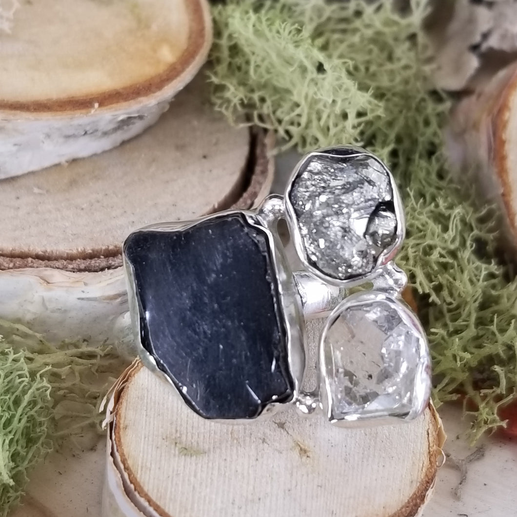 Shungite, Diamond Quartz, Pyrite Ring