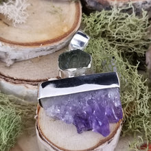 Load image into Gallery viewer, Amethyst and Moldavite Exploration Pendant