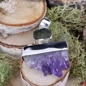 Amethyst and Moldavite Exploration Pendant