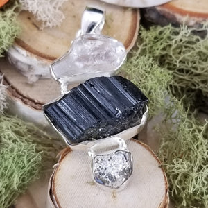 Diamond Quartz, Tourmaline, and Pyrite Pendant