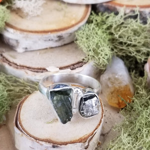 Moldavite and Pyrite Side Set Ring