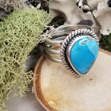 Load image into Gallery viewer, Turquoise Drop TriBand Ring