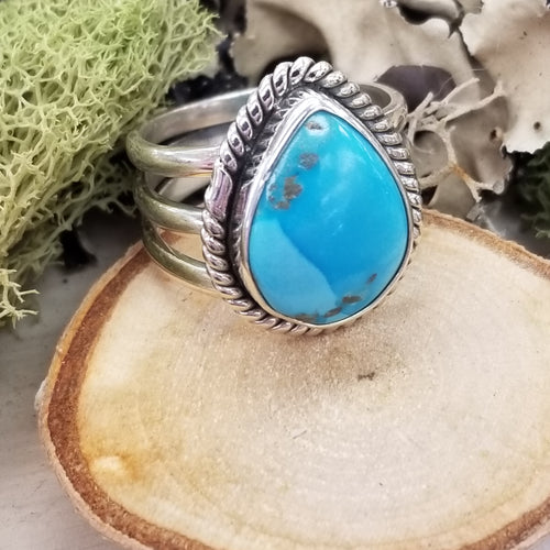 Turquoise Drop TriBand Ring
