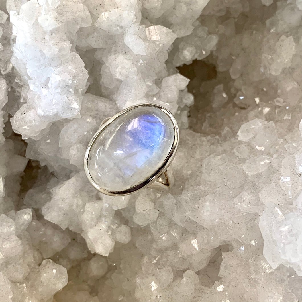 Simple Elegance Rainbow Moonstone Ring