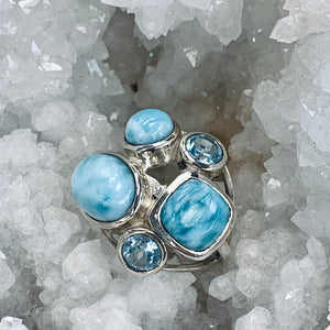 Larimar And Topaz Statement Ring