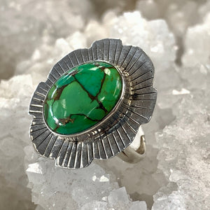 Green Mohave Turquoise Silver Burst Ring