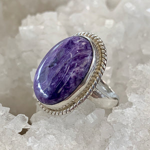 Charoite Silver Roped Ring