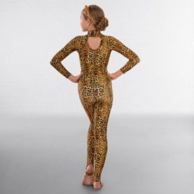 Long Sleeved Keyhole Back Animal Print Catsuit