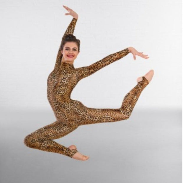 Toni Long Sleeved Animal Print Stirrup Catsuit