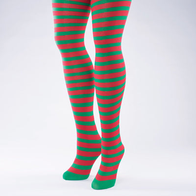 Red & Green Stripe Elf Tights