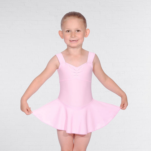 Sleeveless Ruched Front Skirted Leotard