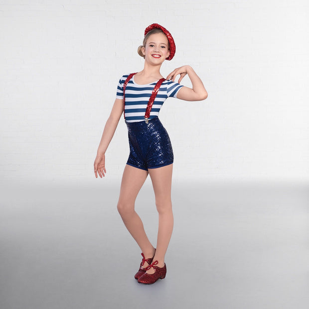 Stripes Sequined Sailor Suit